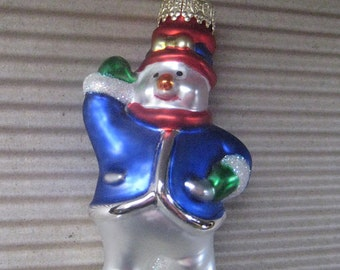 Vintage Christmas Ornament Snowman Hand Blown Glass  #22