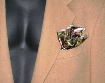 Caleb Collection abstract brown flower satineen design pocket square