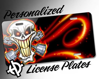 Personalized License Plate -AT1197- Custom License Plate Airbrush License Plate Monogram - Red Skull Pistons License Plate
