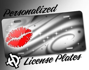 Personalized License Plate -AT1209- Custom License Plate Airbrush License Plate Monogram - Red Lips Grey Swirls License Plate