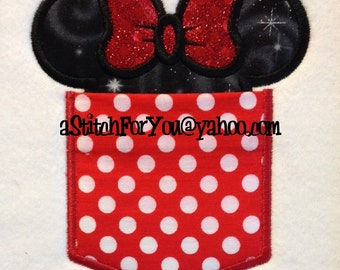 POCKETS w-Ms Mouse Ears - Applique wOrKiNg - 7 Sizes Infant thru Adult Sz ~ In the Hoop ~ Downloadable DiGiTaL Machine Emb Design by Carrie