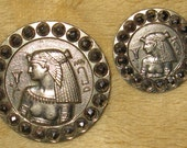 2 Antique Pictorial Buttons Egyptian Queen Faceted Steel OME - Mother Daughter Matching Pair