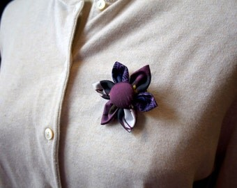 Purple Fabric Flower Brooch, Flower Pin - Handmade Fabric Flower