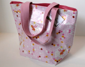 Pink Honey Bee Fairy Fabric Reusable Lunch Bag, Lunch Sack, Reusable Bag