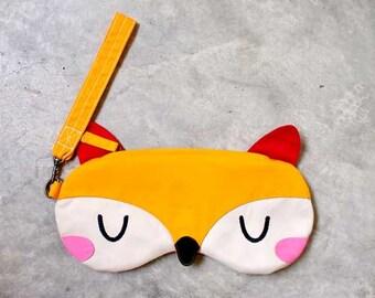 Fox Purse, Fox Pouch, Fox Wristlet, Fox Wrist Clutch, Fox Wrist Pouch, Zip Purse, Zip Pouch, Yellow Purse, The Fantastic Fox - YELLOW FOX