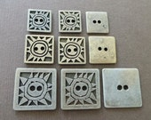 Vintage Square Tribal Sun Metal Buttons Primitive Embellishment Craft Supply