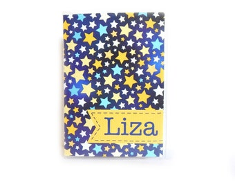 Personalized Passport Cover - Starry Night - customize with name or initials - star sky passport holder - blue and yellow