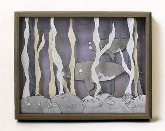 Seaweed Forest- printed whale shadow box- MADE TO ORDER