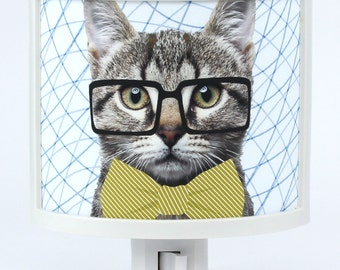 Hipster Cat Night Light Glasses and Bow Tie tabby Kids Room decor childrens night lights nursery baby gifts Under 25 for cat lovers Animal