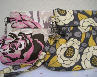 BRIDESMAIDS CLUTCH, Janbag Wristlet , handmade,, bridal, wedding, cosmetic bag