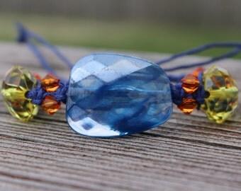 REDUCED Adjustable Beaded Macrame Bracelet - Blue,Yellow, Orange