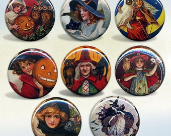 Halloween Witch badges Set of 8 magnets