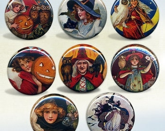 Halloween Witch badges Set of 8 pin back buttons