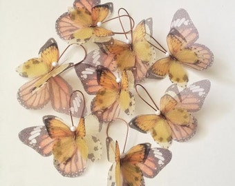 Butterflies all Over Organza Earrings Yellow and Orange Pair