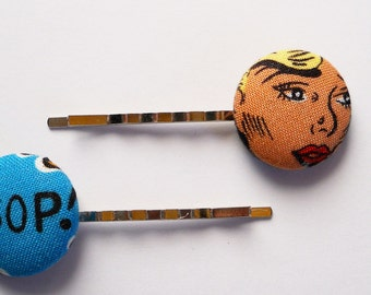 Comic Book Covered Button Bobby Pins (Hair PIns 2)