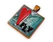 Fly - Heart Inspirational Pendant Necklace - Polymer Clay & Resin Boho Hippie - Aqua Teal Red