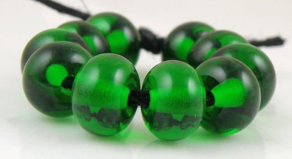 Transparent Dark Emerald Green Spacers - Handmade Lampwork Glass Beads - 5mmx9mm - Transparent, Greens -  SRA (Set of 10 Spacer Beads)