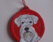 White Schnauzer Dog Custom Hand Painted Christmas Ornament Christmas decoration