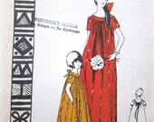70s Polynesian Pattern 124 Luau Dress Sewing Pattern Vintage Girls Muu Muu  - Maxi Long Dress - Size 4 Breast 23