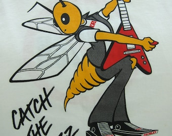 Morley WAH-SP Pedal T Shirt - Catch The Buzz - Music Promo Tee 90s Guitar Rock Vintage Wahsp - Wasp Cartoon - M