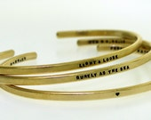 Cuff Bracelet - hand stamped in BRASS with your chosen message - by Kathryn Riechert (tiny text)