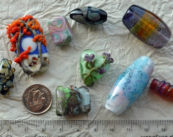 Mixed Lot of Artisan Glass Lampwork Focal Beads for Jewelry Design