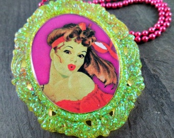 Zombie Necklace - Neon Yellow - Glitter Resin - Pinup Pendant - Zombie Pinup Necklace