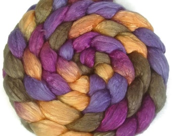 Handpainted Merino Silk 50/50 Wool Roving - 4 oz. CROCUS - Spinning Fiber