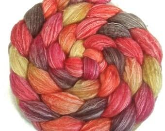 Handpainted Merino Bamboo Silk Roving - 4 oz. SUNSET - Spinning Fiber