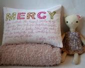 Custom Pillow,Personalized Pillow,Custom Name Pillow, Girl,Nursery Decor, Christian Art, Baby Shower, Hand-Embroidered, Scripture