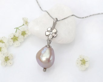 Pearl Drop Pendant with Diamond Flower Accent - Ethical 18k White or Yellow Gold