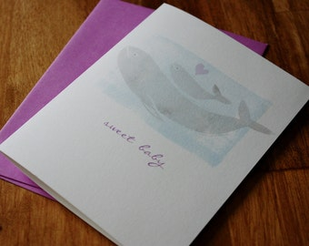 New Baby Whales Greeting Card - Sweet Baby Note Card - Hand Printed Greeting Card