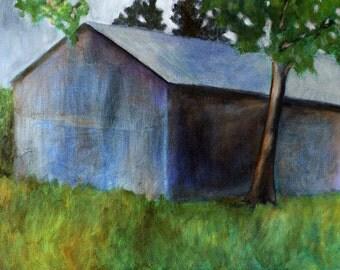 Landscape print of  painting original oil painting Blue Barn