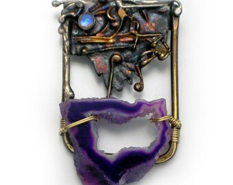 Purple Druzy Crystal Cave and Dichroic  Brooch  in Sterling Married Metals by Cathleen McLain McLainJewelry