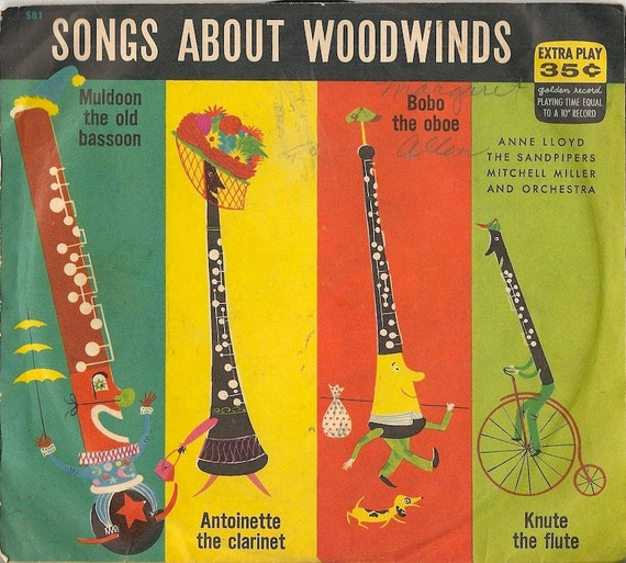 Songs About Woodwinds - Anne Lloyd, The Sandpipers, Mitchell Miller and Orchestra - 1953 - 45 RPM record