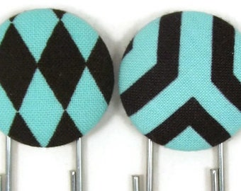 Set of 2 Jumbo Paperclips in Brown and Aqua