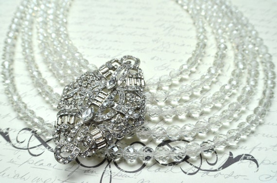 The Sonya- Czech Glass and Rhinestone Brooch Statement Necklace