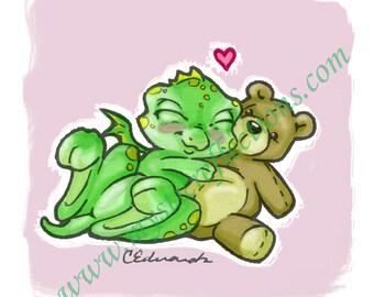 Teddy Cuddle Dragon Doodle Art Print