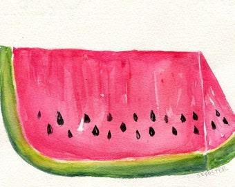 Watermelon Watercolors Paintings Original, Original watercolor painting RED watermelon, kitchen decor, small fruit art, watermelon artwork