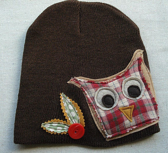 knit hat owl plaid womens by kathywelshart on etsy