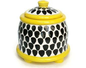 Ceramic Lidded Jar with Feet - Black White and Yellow