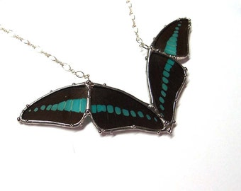 Statement Necklace - Abstract Art Nouveau Graphium Butterfly Necklace - Real Butterfly Jewelry
