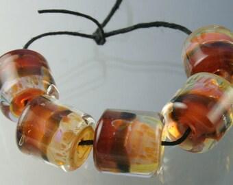 Handmade Lampwork Boro Beads Set of 5 Boro Borosilicate Glass Barrels Rolos Tubes StoneyMarie