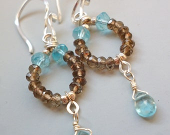Brown Robin's Egg Pool Blue Earrings Aqua Stones Beaded Sterling Silver Bridesmaids Maid of Honor Gifts Matching Bracelet