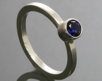 Blue Sapphire Stacking Ring - Sterling Silver - September Birthstone f14r003