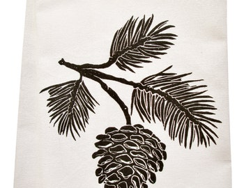 NEW organic block print pinecone towel