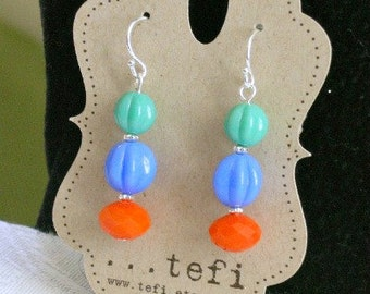 Beaded czech glass earrings, retro, boho. orange, blue, turquoise - Cha-cha