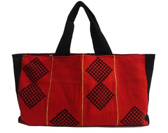 Large Tote bag, Red and Black Shopper bag, Beach Bag, Grocery Shopping Bag, Tommy Tote, Large red beach bag, Reusable shopping bag