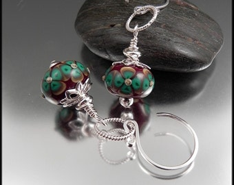 Ginnovations lampwork, Sherwood lampwork and sterling earrings