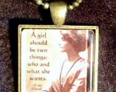 A Girl Should Be Quote Coco Chanel Feminism Art Glass Pendant